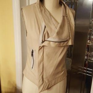 Veda cream asymmetrical drape leather vest